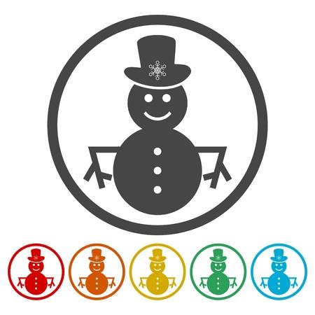 Snowman icons set vector - Illustration Foto de archivo - 104603761