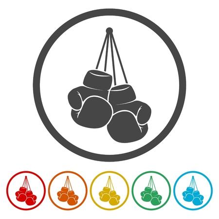 Boxing Gloves Icons set Flat Graphic Design - Illustration