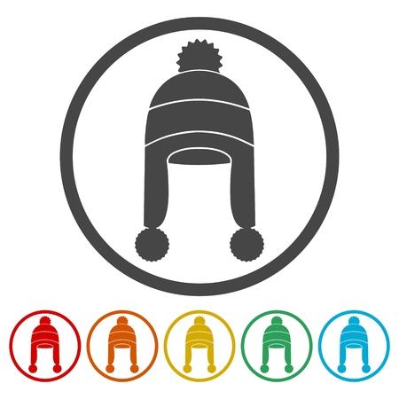 Winter snowboard cap icons set - Illustration