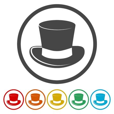 Top hat icons set - Illustration