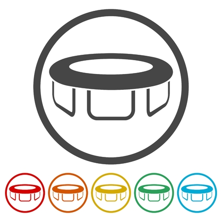 Trampoline jumping icons set - vector Illustration