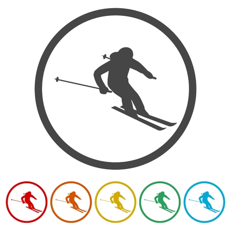 Ski icons set. Vector illustration Ilustrace