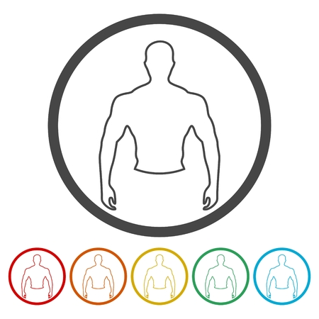 Strong man icons set - vector Illustration