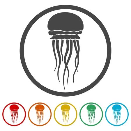 Isolated jellyfish icons set - Illustration Çizim