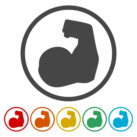 Strong Arm Silhouette icons set - Illustration