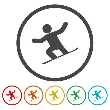Jeu d'icônes de snowboard - illustration vectorielle