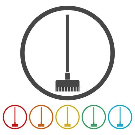 Floor brush icons set Illustration