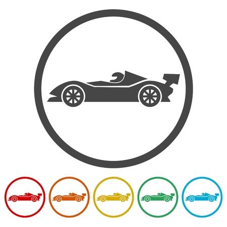 Race car icons set - Illustration