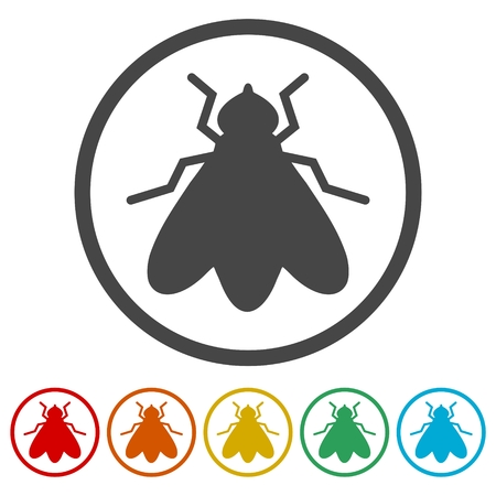 Fly icon, insect icons set - Illustration Vectores