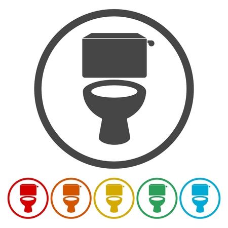 Toilet bowl illustration icons set