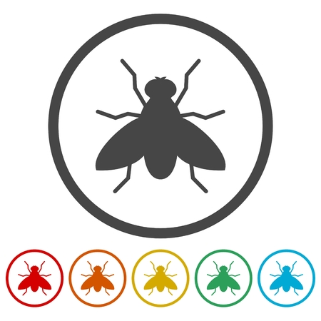 Fly icon, insect icons set - Illustration Ilustracja