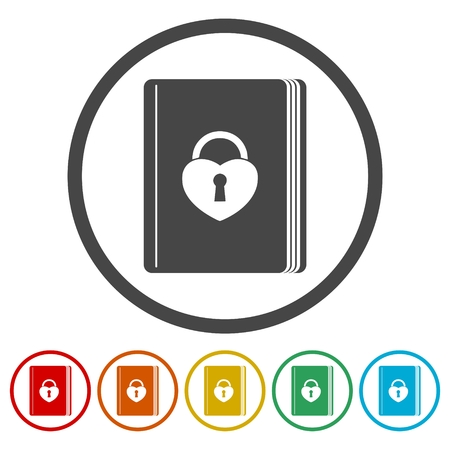 Book with lock icons set - Illustration