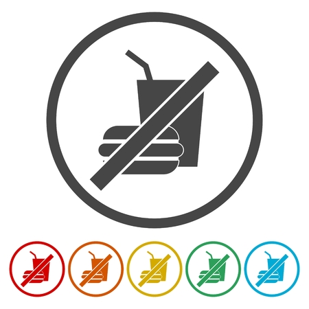 No Food Or Drinks Allowed Icons set Vector Illustration