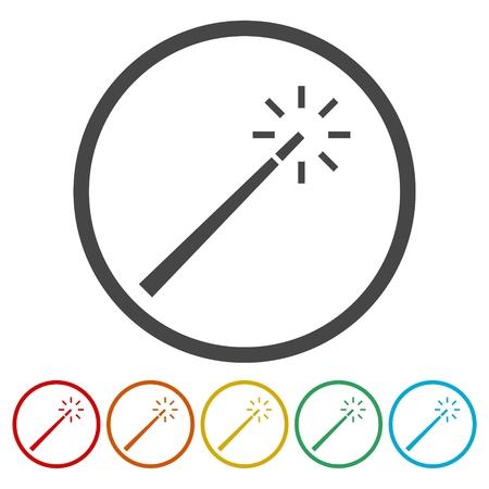 Magic wand vector icons set - Illustration