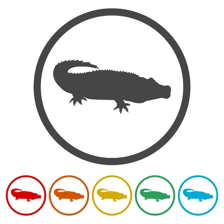 Crocodile icons set - Illustration
