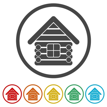 Wood log house icons set - vector illustration