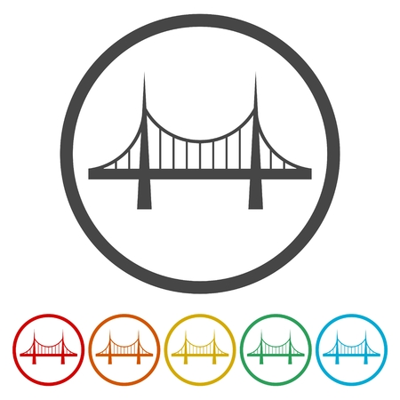 Bridge icons set - vector Illustration Vectores