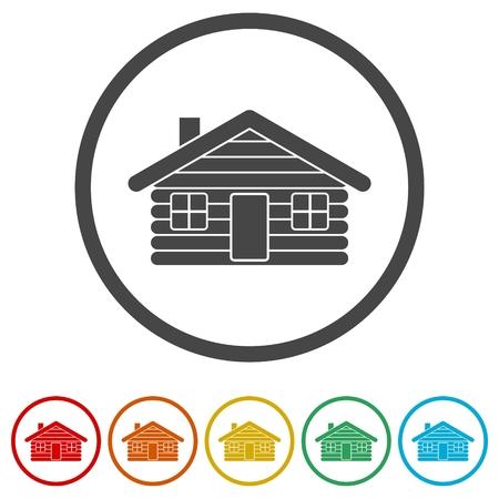 Wood log house icons set - vector illustration