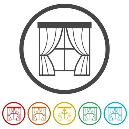 Vector curtain icons set - Illustration