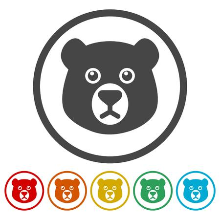 Bear head icons set - vector Illustration