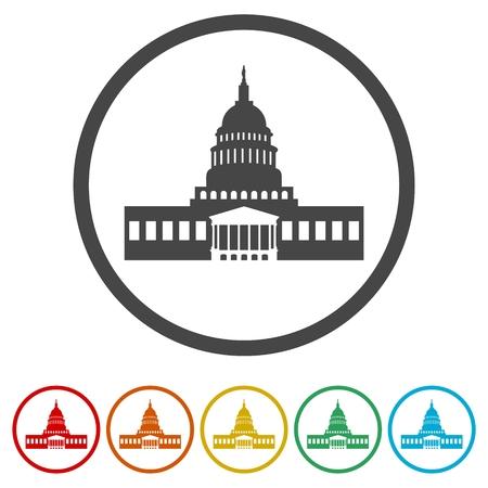 Vector White House icons set - Illustration