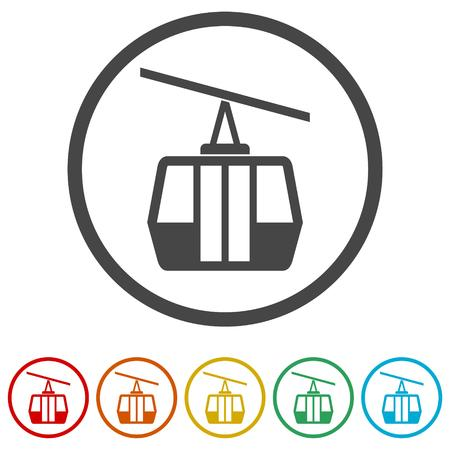 Vector Ski Lift Icons set - Illustration Illustration