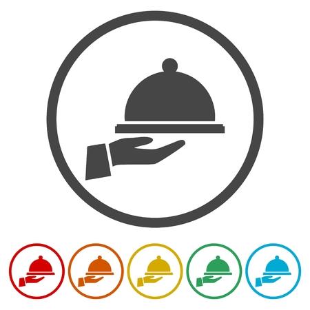 Voedsel dienblad geplaatste pictogrammen - illustratie
