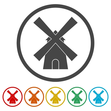Traditional old windmill building icons set 일러스트