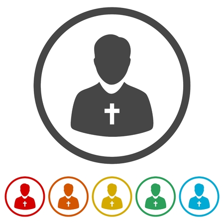 Priest Icons set Flat Graphic Design - Illustration
