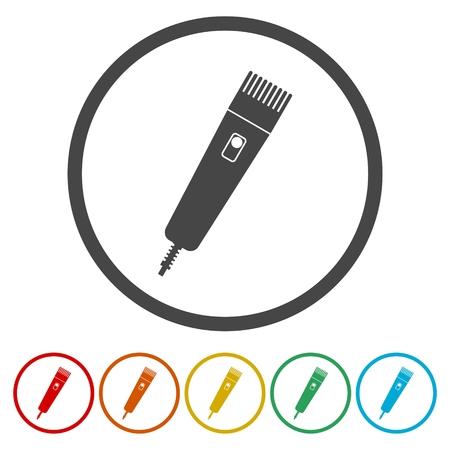 Hair clipper machine icons set - Illustration