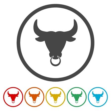 Bull icons set vector illustration
