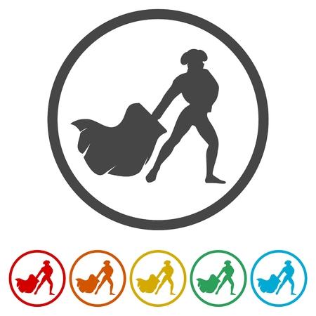Bullfighting icons set vector illustration