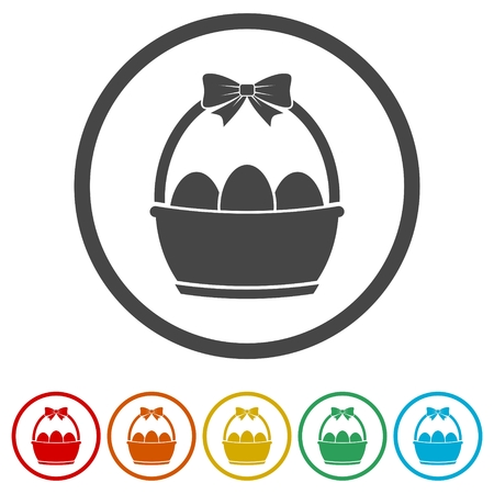 Easter eggs in a basket icons set