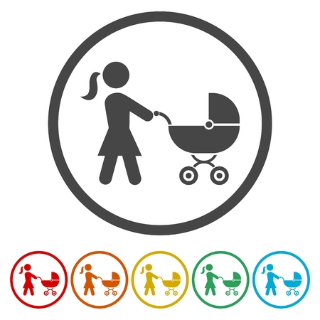 Mother with stroller icons set - Illustration