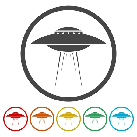 UFO Flying Saucer Vector Icons set Illustration