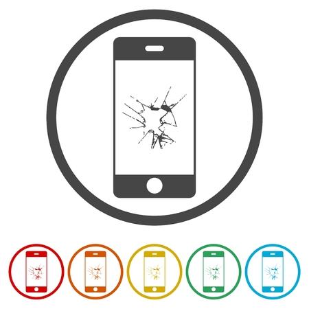 Mobiele telefoon pictogrammen instellen met gebroken scherm - afbeelding Vector Illustratie