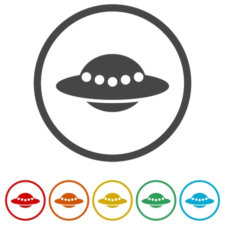 Conjunto de iconos vectoriales de platillo volador OVNI Ilustración de vector