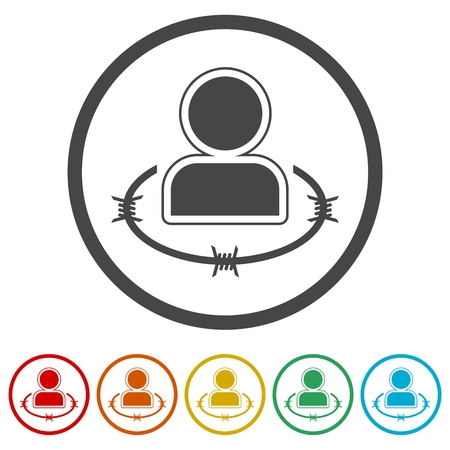 User icons set with barbwire - Illustration