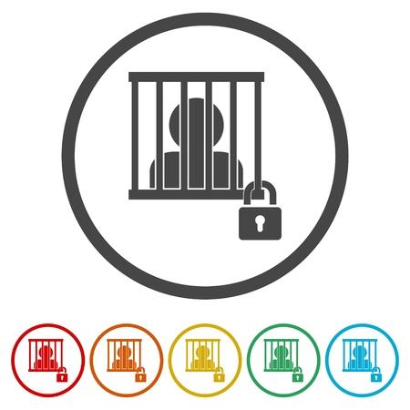 Icono encarcelado, conjunto de iconos detrás de las rejas - Ilustración