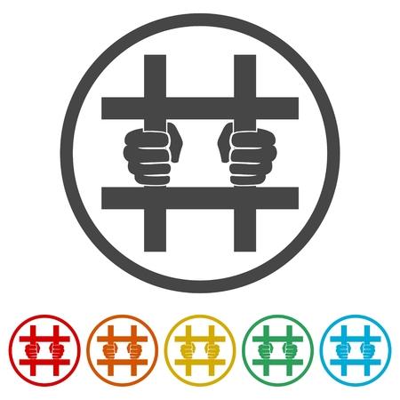 Gevangenispictogram, achter de tralies geplaatste pictogrammen - illustratie Vector Illustratie