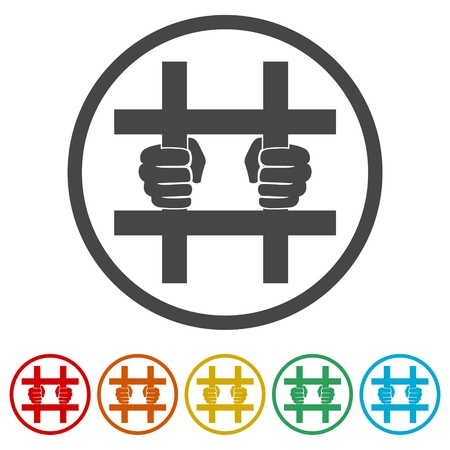 Jailed Symbol, hinter Gittern Symbole gesetzt - Illustration Vektorgrafik