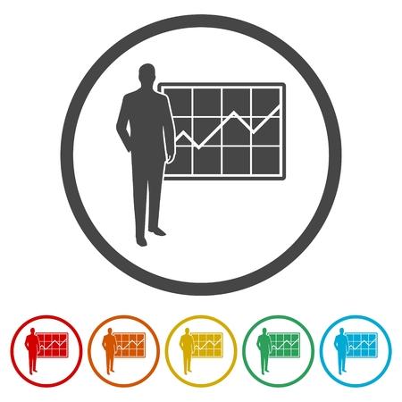 Businessman doing a presentation icons set - Illustration