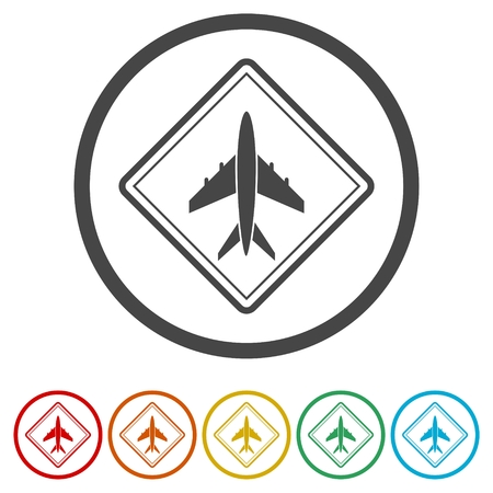 Airport icons set vector - Illustration