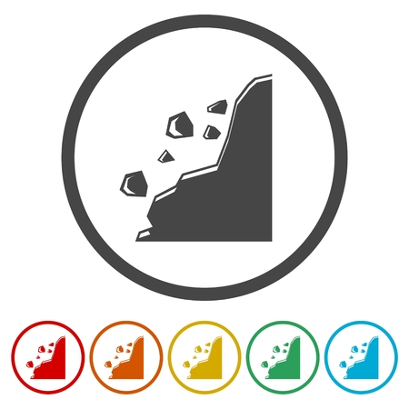 Falling rocks vector icons set - Illustration Illustration