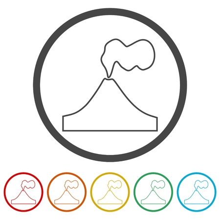 Volcano eruption line icons set