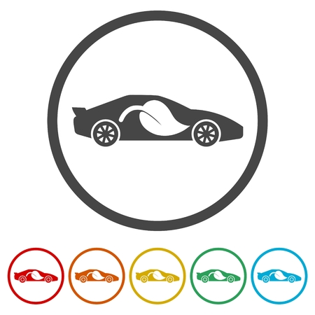 Eco Car icons set- Illustration
