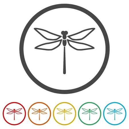 Dragonfly insect vector icons set illustration Illustration
