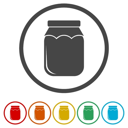 Jam Jar Vector Icons set Illustration