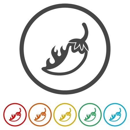Chili, pepper icons set - Illustration Illustration