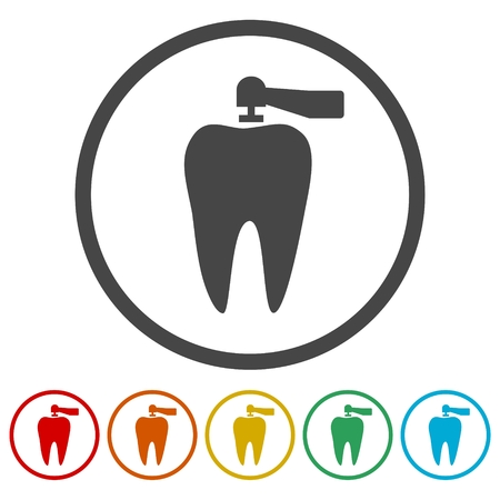 Teeth protection, tooth care icons set - Illustration